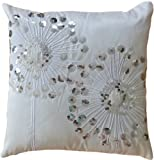 "Decorative Silver Sequins Dandelion Floral Throw Pillow COVER 18"" White Silver"