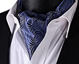 Allbebe Mens Navy Blue Floral 100% Silk Jacquard Woven Self Cravat Tie Ascot