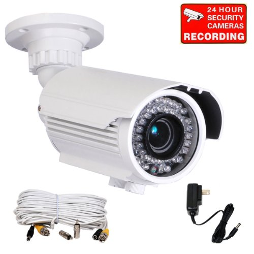 Videosecu Built-in SONY Effio CCD 700TVL High Resolution Day Night Outdoor Zoom Bullet Security Camera 42 IR Infrared LEDs Varifocal Lens for CCTV DVR Surveillance System with Free Power Supply and Extension Cable A81