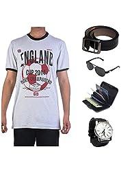 Garushi Grey T-Shirt With Watch Belt Sunglasses Cardholder