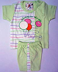 Bubbles Printed Dress For New Born (0-3 Months) (Green)