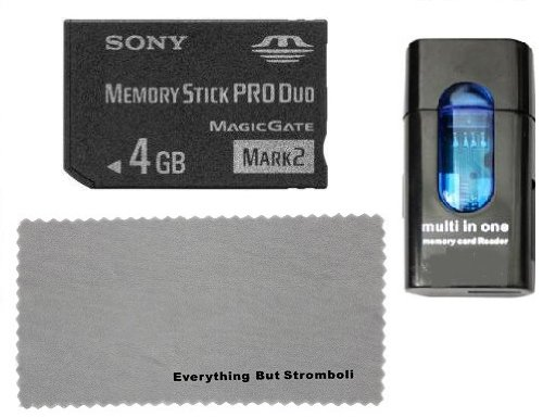 Sony 4GB Memory Stick PRO DUO MSPD (Mark 2) Memory Card with Card Reader & Everything But Stromboli MicroFiber Contact Cleaning Cloth