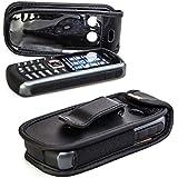 caseroxx Handy-Tasche für Samsung B2710 aus Echtleder, Handy-Hülle mit Sichtfenster aus schmutzabweisender Klarsichtfolie und Clip