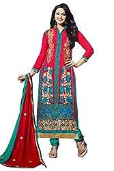 Pehnawa Fashion Women Goerget Unstitched Dress Material (Magenta pink)