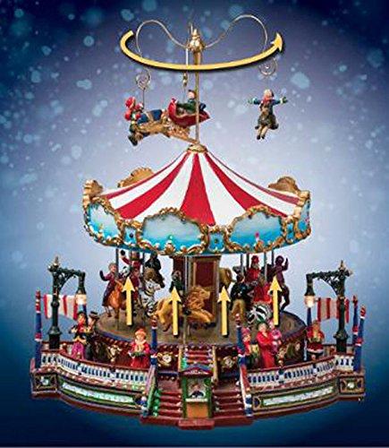 Carrousel de Noël lumineux et musical, L.31 x l.27.5 x h.32.5 cm -PEGANE-