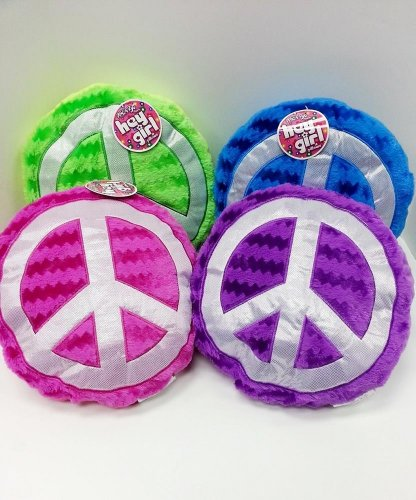 "14"" Round ""Hey Girl"" Peace Sign Pillows - Set Of 2 front-995172"