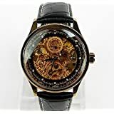 Mens Watches Steampunk Mechanical Watch Skeleton Luxury Man Leather Wrist Watch