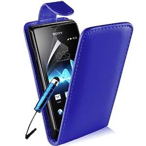 Supergets® Schlichte Einfarbige Hülle für Sony Xperia E Handytasche in Lederoptik Etui Klappschale Flip Case, Mit Schutzfolie, Mini-Eingabestift