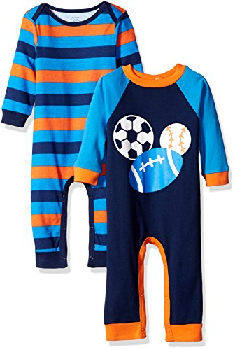Gerber Boys' 2 Pack Coverall, Sports, 0-3 Months (Boys Sports)