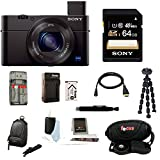 Sony DSC-RX100M III DSC-RX100M3 RX100M3 DSCRX100MIII RX100MIII Cyber-shot Digital Still Camera with Sony 64GB SDHC Class 10 Memory Card + Additional Focus NPBX1 battery and charger+ and Sony Camera Case + Focus Accessory kit