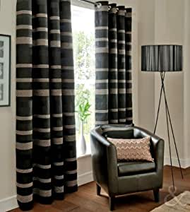Striped jacquard black curtains 66x90 chenille faux silk for Living room curtains 90x90