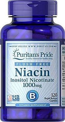 Puritan's Pride Flush Free Niacin Inositol Nicotinate 1000 mg-120 Capsules