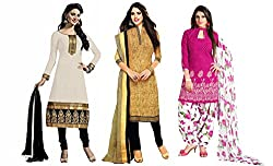 Sancom Combo pack of three colors (White,Yellow,Pink) Unstitched Art Silk Dress Material