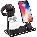 YoFeW Charging Stand for Apple Watch Aluminum Watch Charging Stand Dock Holder Compatible for iWatch Apple Watch Series 4/3 / 2/1/ AirPods/iPhone X/XS/XS Ma /8 / 8Plus / 7/7 Plus /6S /6S Plus (Color: Black Charging Dock)