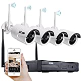[Sonderangebot] ZOSI HD 960P 4 Kanal Funk Überwachungsset 4CH NVR mit 4 Drahtlos 1.3Megapixel Außen Tag Nacht IP Überwachungskamera Set Wireless CCTV System, 30M IR Nachtsicht, ohne Festplatte