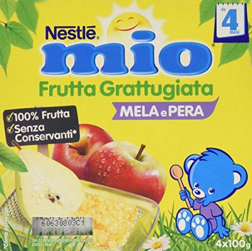 Nestlé Mio Frutta grattugiata Mela e Pera da 4 Mesi, senza Glutine, Confezione da 4x100 gr, Totale: 400 gr