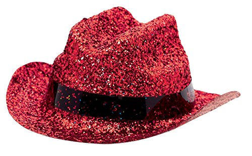 hat glitter mini cowboy red - 1