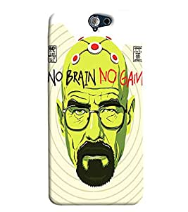 Blue Throat No Brain No Gain Printed Designer Back Cover/ Case For HTC One A9