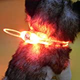 Amazon.co.jp【全5色】 LED チューブ 型 光る 犬 用 首 輪 長さ 80cm 調整 可能 LED 3 パターン 点灯 (3. レッド 赤)