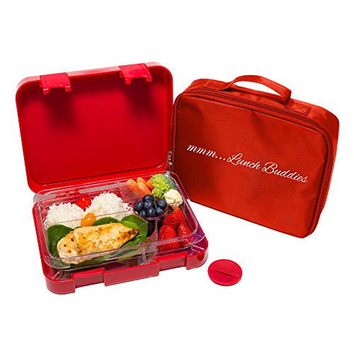 Bento Lunch Box-Red - by mmm...Lunch Buddies-Double Leak Proof Container-New Dual Latch-Great for Kids or adults-BONUS INSULATED LUNCH BAG-Healthy Portion Plate-5 COMPARTEMENTS -Microwave-Dishwasher (Lunch Box Insulator compare prices)