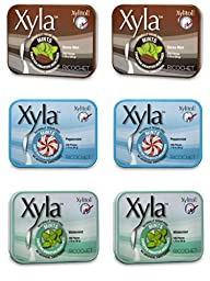 Xyla Brand Xylitol Mints 3 Flavor Variety Pack, 6 Tins
