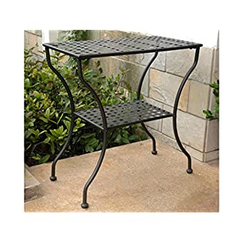 Iron Antique Black 2-Tier Patio Side Table
