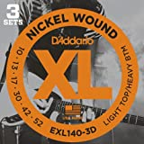D'Addario Light Top/Heavy Bottom 10-52 Nickel Wound Electric Guitar Strings (3 Sets)