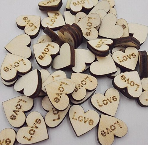 M-W 100PCS Letters Wood Slices Heart Shaped DIY Wood Log Slices for DIY Crafts Wedding (Love)