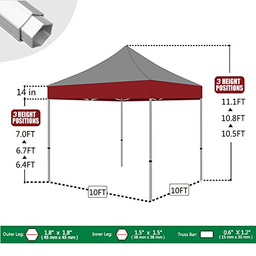 Eurmax Professional 10 By 10 Canopy Printing Custom Pop up Party Tent Event Gazebo with Your Logo and Canopy Wheeled Bag