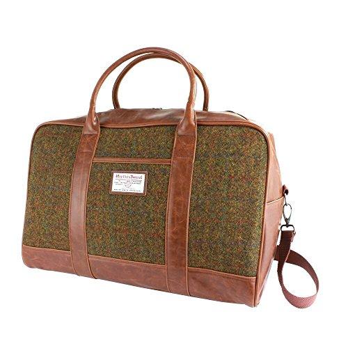 Harris-Tweed-Olive-Tan-Tartan-Overnight-Bag