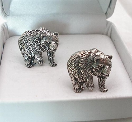 Solid Pewter Bear Cufflinks With Gift Box