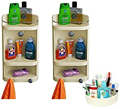 Cipla Plast Combo of Caddy Bathroom Corner Cabinet (Set of Two) & Multipurpose Container - Ivory - BRC-701-IV-P2-C3