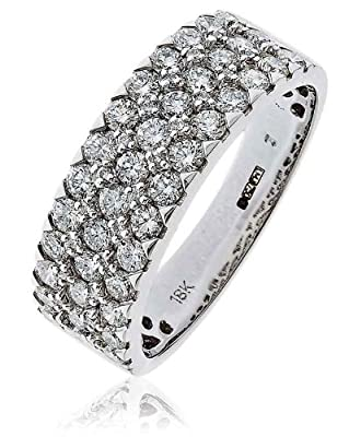 1.10CT Certified G/VS2 Round Brilliant Cut Pave Set Three Row Half Eternity Diamond Ring in 18K White Gold