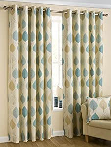 100% Cotton Teal Cream Beige 46x90 Floral Lined Ring Top Curtains #faeldom *bel*