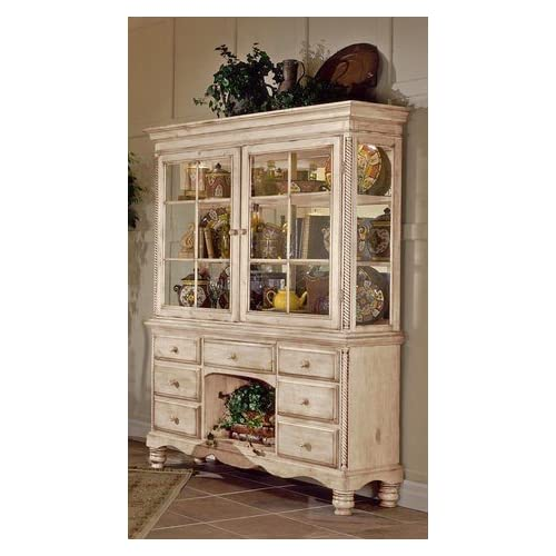 Amazon.com - China Cabinet Buffet Hutch in Antique White Finish -