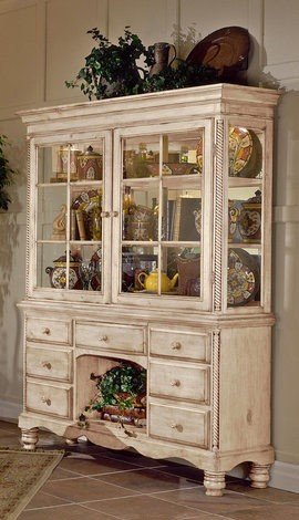 Cheap▷China Cabinet Buffet Hutch in Antique White Finish