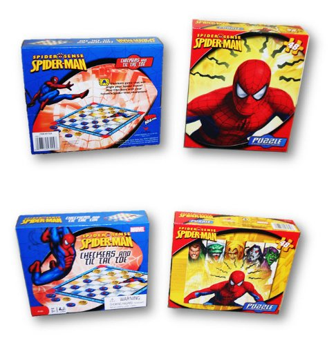 Spider Sense Spider-man Activity Pack ~ 49 Piece Puzzle and Checkers & Tic Tac Toe