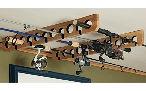 Overhead Ceiling Mount Fishing Pole Rod & Reel Holder Storage Rack