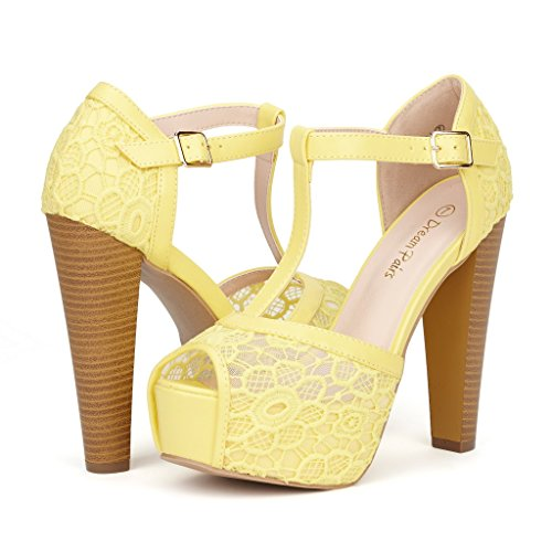 08. DREAM PAIRS LAURA Women's Peep Toe High Heel T-Strap Enjoyable Platform Pumps Sandals Shoes