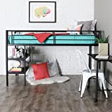 WE Furniture Twin Loft Bed with Desk and Shelves, Black