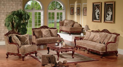 Traditional Formal Victorian and Parisian Style 6 PC Living Room Group
