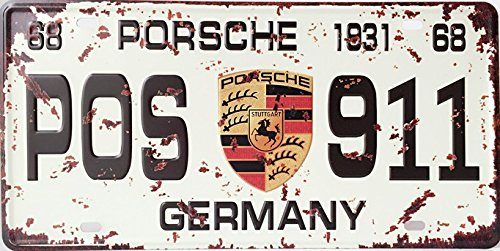 Porsche 911 Retro Vintage Auto License Plate Tin Sign Size 12″ X 6″inches, a Two-sided Postcard Designed By Smile Buy Is Included