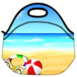 Snoogg Abstract Summer Background Travel Outdoor Carry Lunch Bag Picnic Tote Box Container Zip Out Removable Carry... - B01B7GUP2I