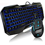 Aula Bundles Blue LED Keyboard+ Mouse Illuminated Backlit Multimedia Gaming Combos