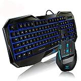 Aula Bundles Blue LED Gaming Keyboard+ Mouse Illuminated Backlit Multimedia Gaming Combos