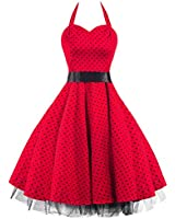 50s Polka Dot Red Black Rockabilly Swing Prom Pin-Up Dress - NOW AVAILABLE UP TO SIZE 26!!!