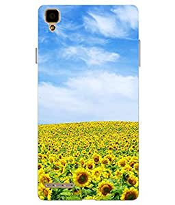 Snazzy Sun Flower Printed Multicolor Hard Back Cover For Oppo F1 Selfie