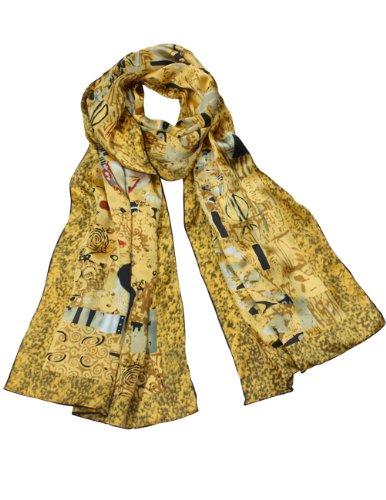 "Dahlia Women s 100% Long Silk Scarf - Gustav Klimt ""Adele Bloch-Bauer I"" - Gold"
