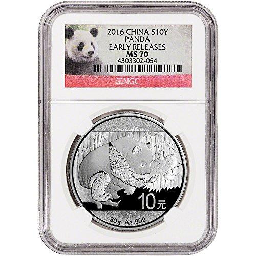 2016 China Silver Panda (30 g) Early Releases - Red Panda Label 10 Yuan MS70 NGC