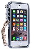 iPhone5sケース、iPhone5ケース、iPhone SEケース カバー、【RZS】[スクラッチ保護] [ドロップ保護] [耐震] メカニカルアームシェイプ保護金属シェル[ネックストラップ付き] 航空宇宙アルミニウムアイフォン5s/SE/5用 耐衝撃カバー (iPhone 5/5s/SE, グレー)